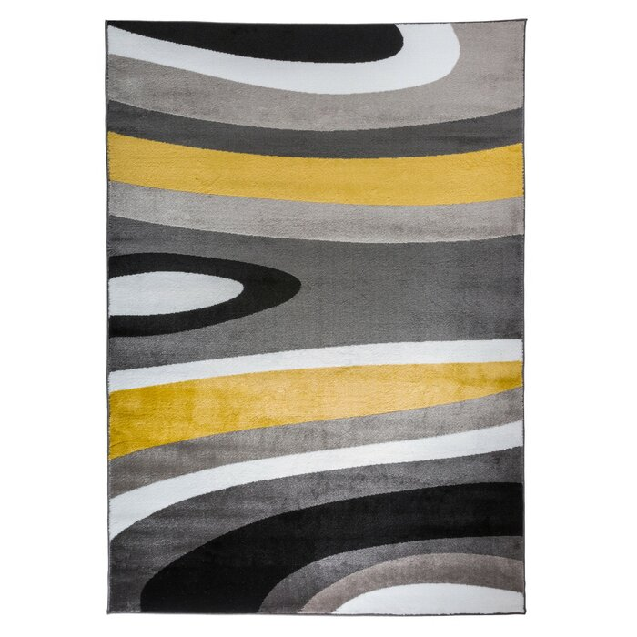 Warford Abstract Contemporary Modern Gray Yellow Area Rug