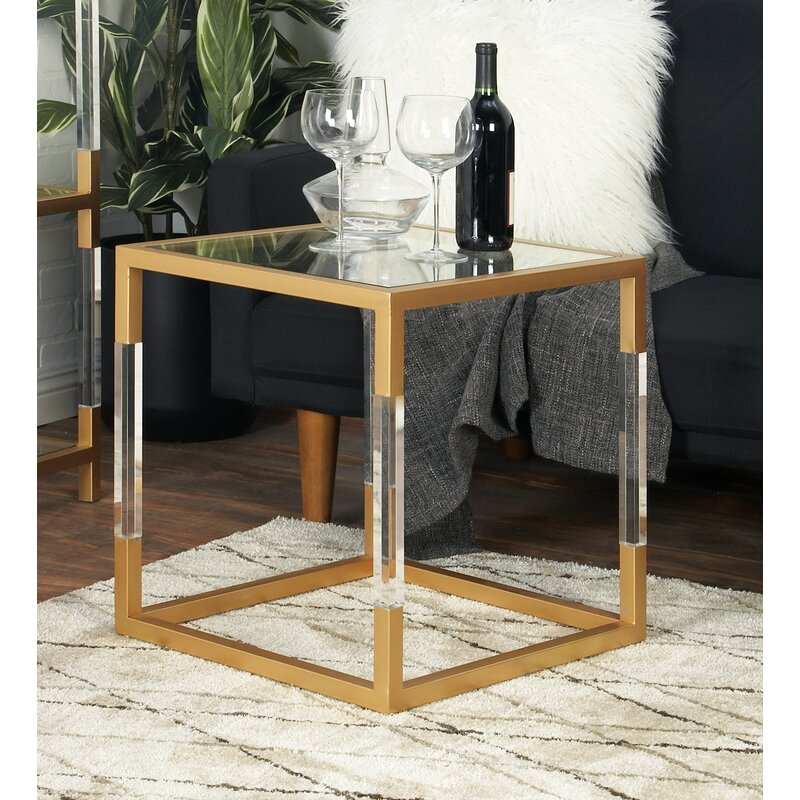 Metal, Glass And Acrylic End Table