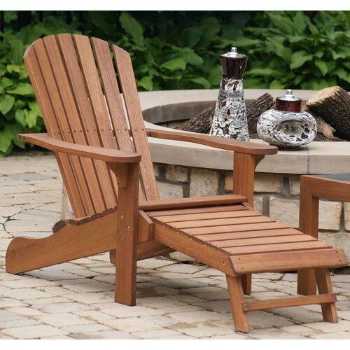 Birch Lane Delatorre Solid Wood Adirondack Chair With Ottoman Reviews Wayfair
