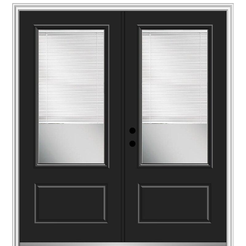 Verona Home Design Internal Blinds Primed Fiberglass Prehung Front Entry Doors Wayfair