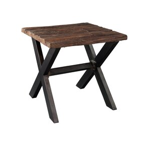 Hekman Railroad Tie and Steel End Table