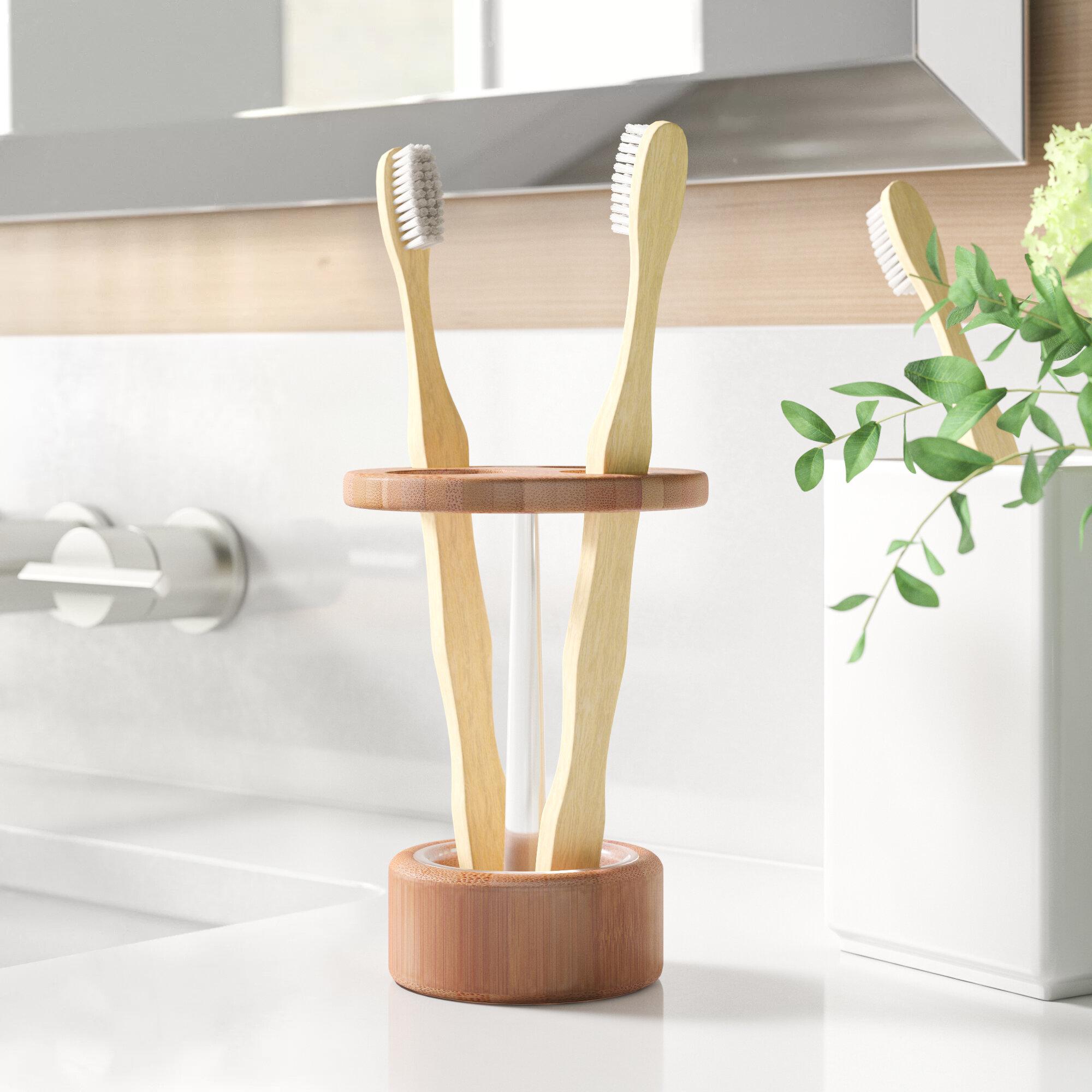 Toothbrush Holder Wood Countertop Bath Accessories You Ll Love In 2021 Wayfair