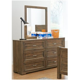 Logan 6 Drawer Double Dresser with Mirror by My Home Furnishings