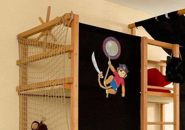 Etagenbett Pirat : Etagenbett hochbett colin buche massiv weiss inkl vorhang pirat