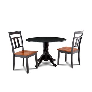 Percival 3 Piece Drop Leaf Solid Wood Dining Set Millwood Pines