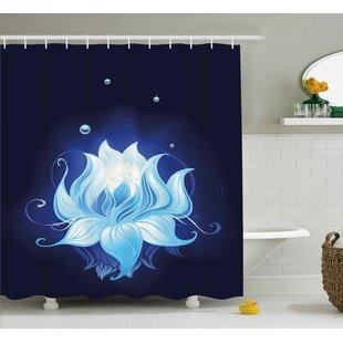 Becerra Zen Lotus with Dew Drops Single Shower Curtain