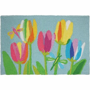 Pardue Tulips and Dragonflies Hand-Tufted Blue/Pink/Green Indoor/Outdoor Area Rug