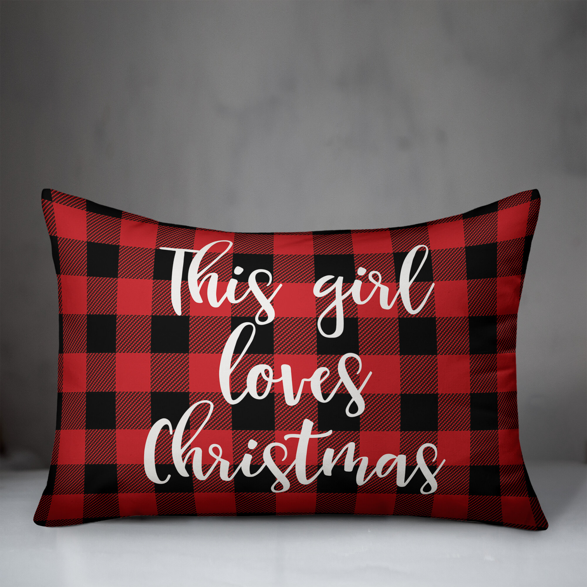 The Holiday Aisle Trudy This Girl Loves Christmas In Buffalo Check Plaid Lumbar Pillow Wayfair