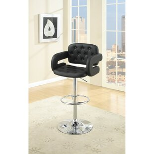 Ebern Designs Charters Towers Tufted Seat and Back Adjustable Height Bar Stool