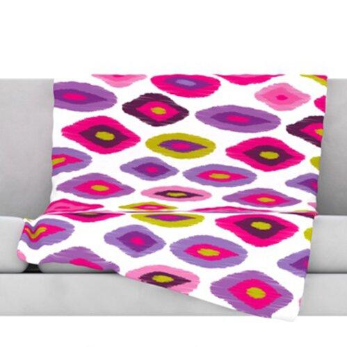 80 x 60 Fleece Blanket Kess InHouse Kess Original Violet Dye Purple Digital Throw