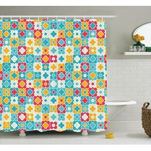 Best Price Amber Quatrefoil Clover Leaves Barb Clover Lattice Boho Colorful Kids Room Decor Shower Curtain ByHarriet Bee