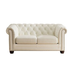 Rosdorf Park Crissyfield Leather Chesterfield Loveseat