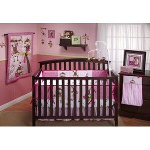 3 Little Monkey Pink 10 Piece Crib Bedding Set