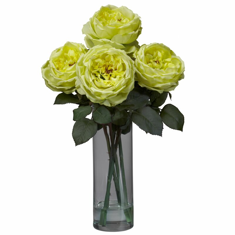 Nearly Natural Fancy Rose With Cylinder Vase Silk Flower Arrangement