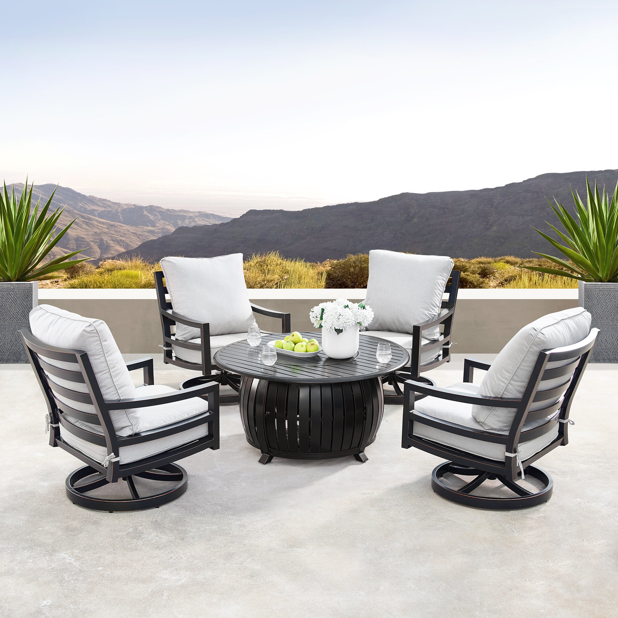 Canora Grey Mccomas 5 Piece Dining Set With Cushions And Firepit Wayfair