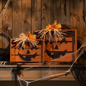 2 Piece Wooden Slatted Pumpkin Decor (Set of 2)