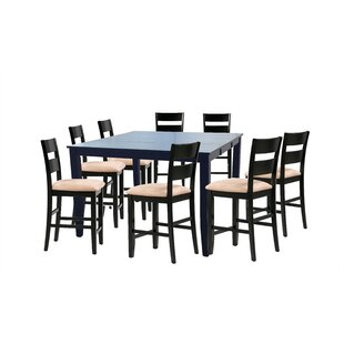 Bennet 9 Piece Counter Height Extendable Solid Wood Dining Set