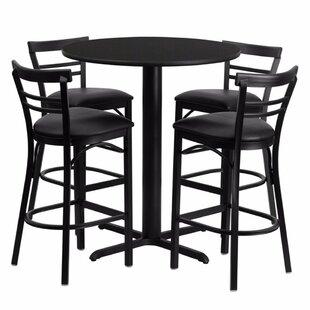 Alvarez Round Laminate 5 Piece Pedestal Pub Table Set Red Barrel Studio
