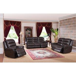 Lorretta Reclining 3 Piece Leather Living Room Set