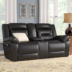 Simmons Upholstery Chadbourne Power Double Motion Console Reclining Sofa b..