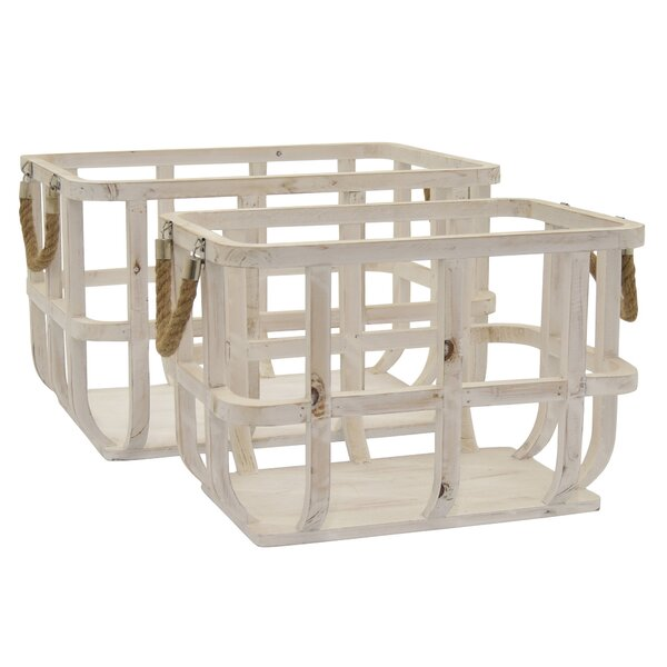 Gracie Oaks 2 Piece Wood Basket Set Wayfair
