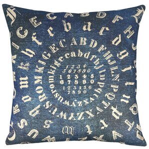 typography indigo throw pillow
