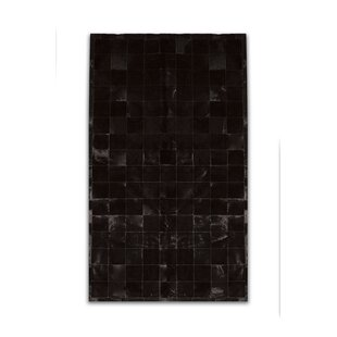Inexpensive Aayush Four Square Patch Hand-Woven Cowhide Black Area Rug By 17 Stories