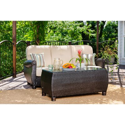 Breckenridge 2 Piece Rattan Sunbrella Sofa Seating Group with Cushions La-Z-Boy Outdoor Cushion Color: Spectrum Sand Tan