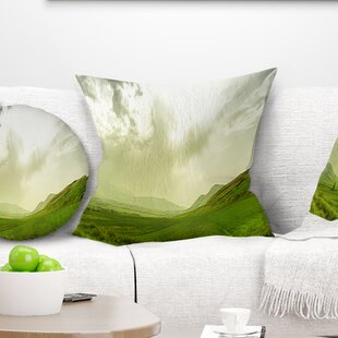 Landscape Meadow Under Clouds Panorama Pillow