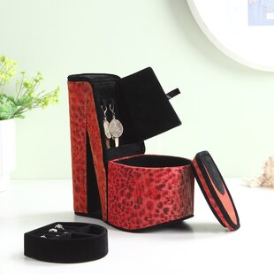 Price comparison Leopard Red Print High Heel Shoe Hidden Jewelry Box ByZoomie Kids