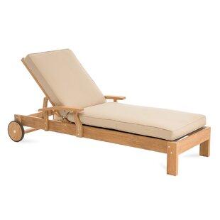 Boyle Reclining Teak Chaise Lounge with Cushion