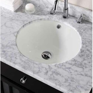 Price comparison Ceramic Circular Undermount Bathroom Sink with Faucet and Overflow ByAmerican Imaginations