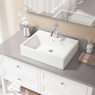 MR Direct Vitreous China Rectangular Vessel Bathroom Sink with Faucet and ..