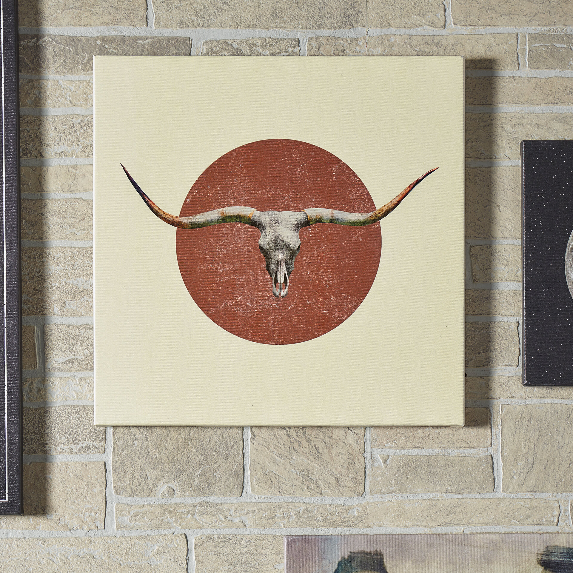 'Longhorn' Graphic Art on Wrapped Canvas