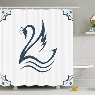 Stylized Swan with Curves Shower Curtain Set