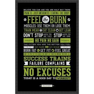 Gym - Motivational Framed Textual Art  sc 1 st  Wayfair & Motivation Wall Art   Wayfair