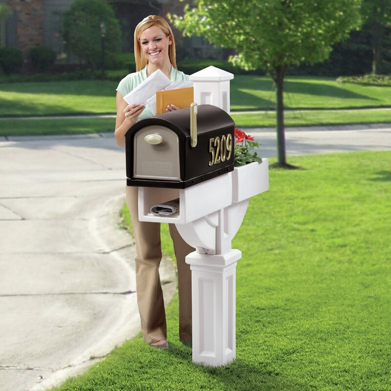 Mailbox With Planter Newspaper Holder Durable Poly Plastic Weather Resistant New