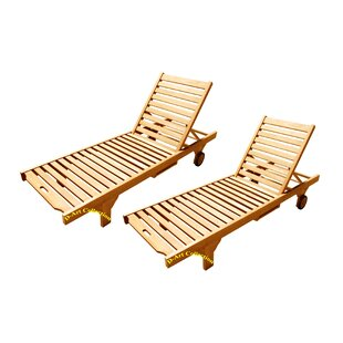 D-Art Collection Reclining Teak Chaise Lounge (Set of 2)