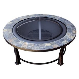 Phat Tommy Outdoor Slate Top Wood Burning Round Fire Pit