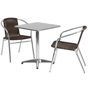 Ebern Designs Huxley Square Indoor Outdoor 2 Piece Bar Height Dining Set