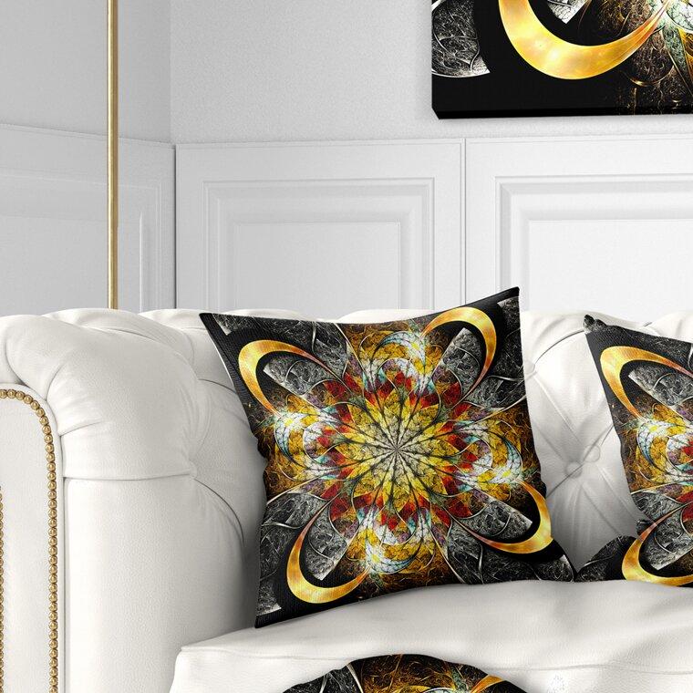 East Urban Home Floral Symmetrical Golden Flower Pillow Wayfair