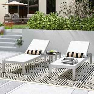 Coline Contemporary Outdoor Patio 3 Piece Single Chaise and Table Set