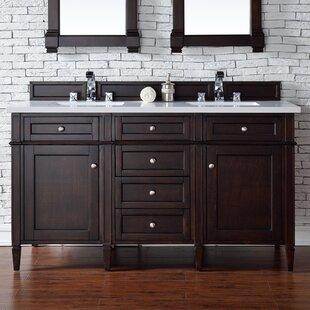 Deleon 60 Double Burnished Mahogany Quartz Top Bathroom Vanity Set by Darby Home Co