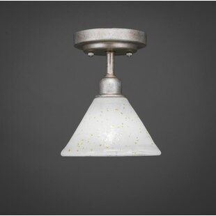 Kash 1-Light White/Gold Semi-Flush Mount by Williston Forge