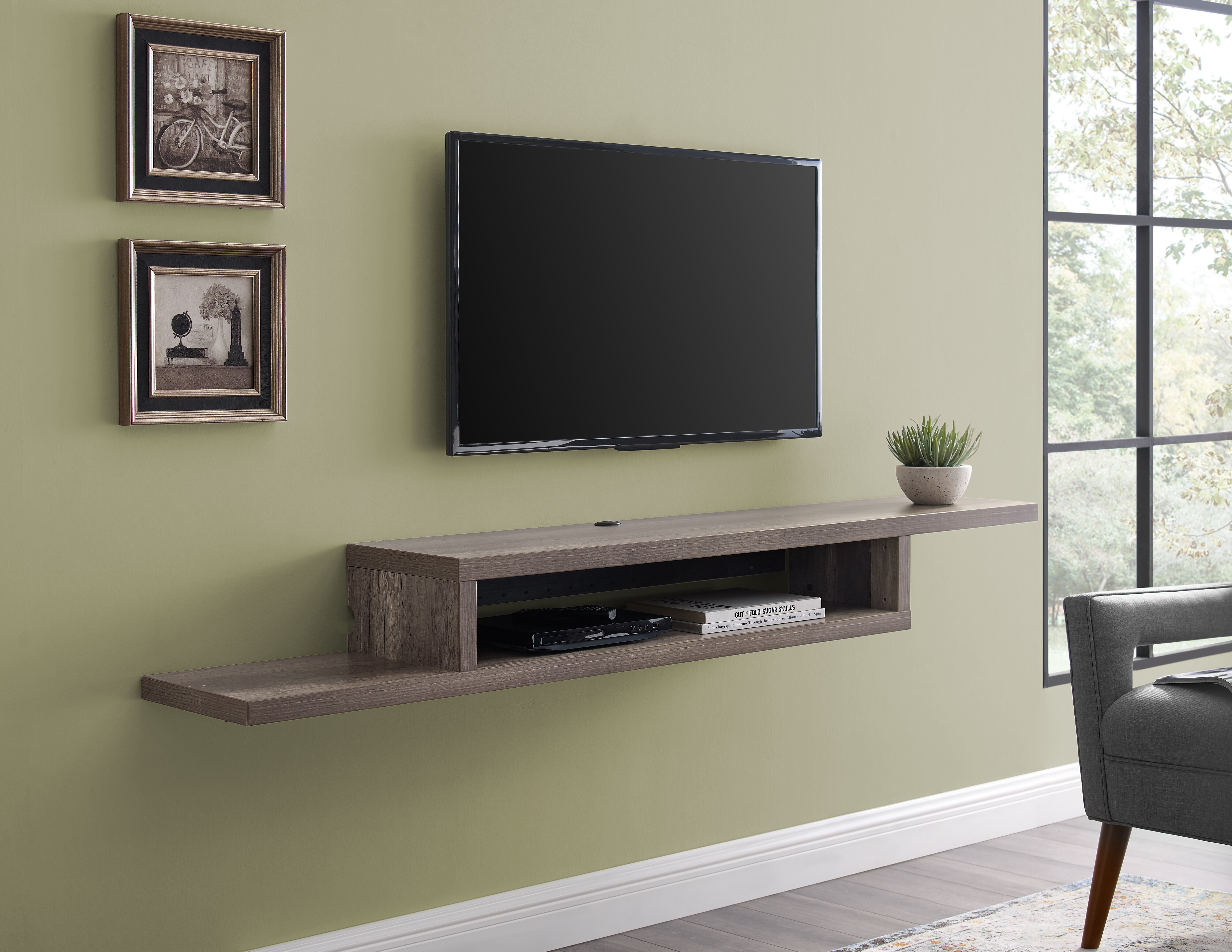 Martin Furniture Asymmetrical Floating Wall Mounted TV Console, 72inch,  Stone Grey