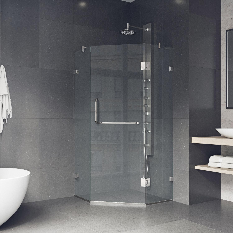 Vigo Piedmont 38 13 W X 73 38 H Neo Angle Hinged Shower Enclosure Reviews Wayfair