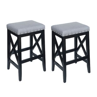 Franko Upholstered Fabric 29.6 Bar Stool (Set of 2) by Gracie Oaks