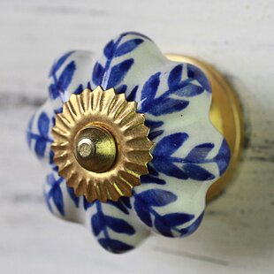 Handpainted Cabinet Ceramic Flower Novelty Knob (Set of 6)