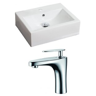 Best Reviews Ceramic Rectangular Vessel Bathroom Sink with Faucet and Overflow ByAmerican Imaginations