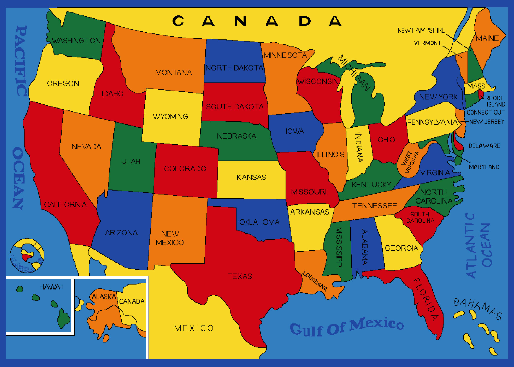 Picture Of Usa Map Zoomie Kids Tackett USA States Map Blue Area Rug | Wayfair